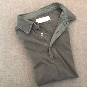 Everlane dark army green classic three button polo